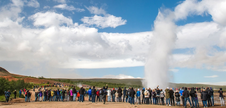 Geysir Strukkur in Iceland with people around