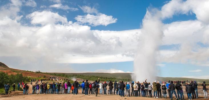Geysir Strukkur in Iceland with people around